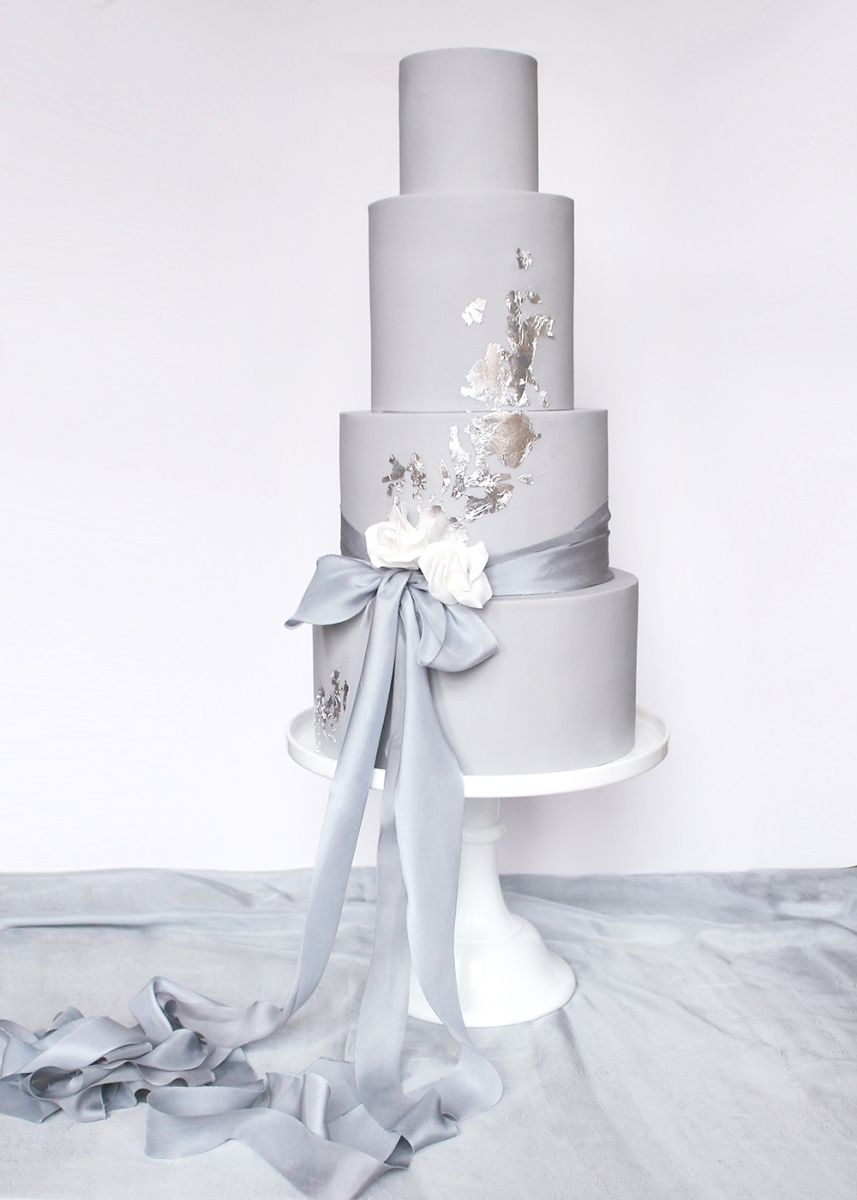 Dove grey and silver leaf wedding cake with silk ribbon Wildflower ...