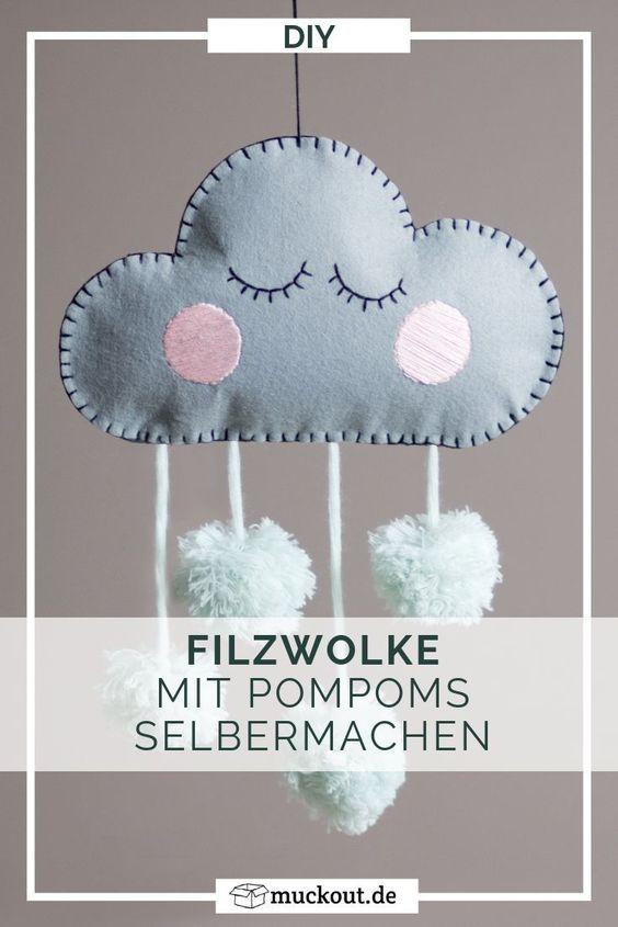 DIYDeko fürs Kinderzimmer Filzwolke mit Pompoms Baby