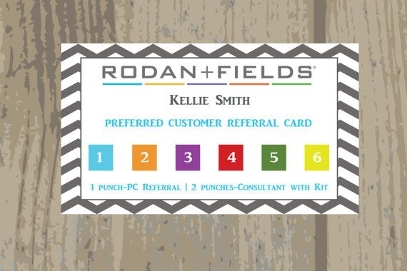 Rodan Fields Referral Punch Cards Printed by BeeCreativebyKellie ...