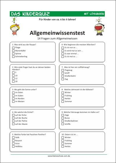 Allgemeinwissenstest für Kinder von 6-9 | Quiz für kinder