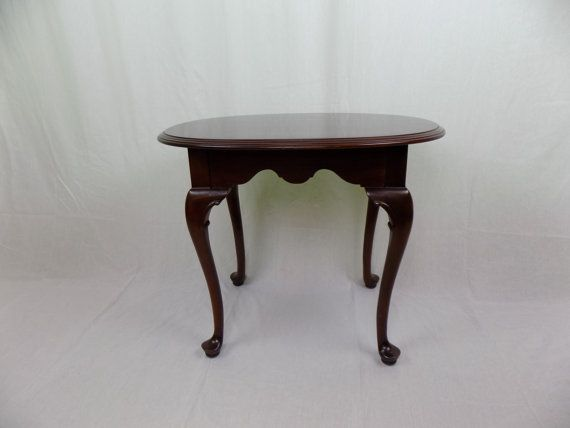 mid century ethan allen georgian court solid cherry wood oval side rh pinterest com