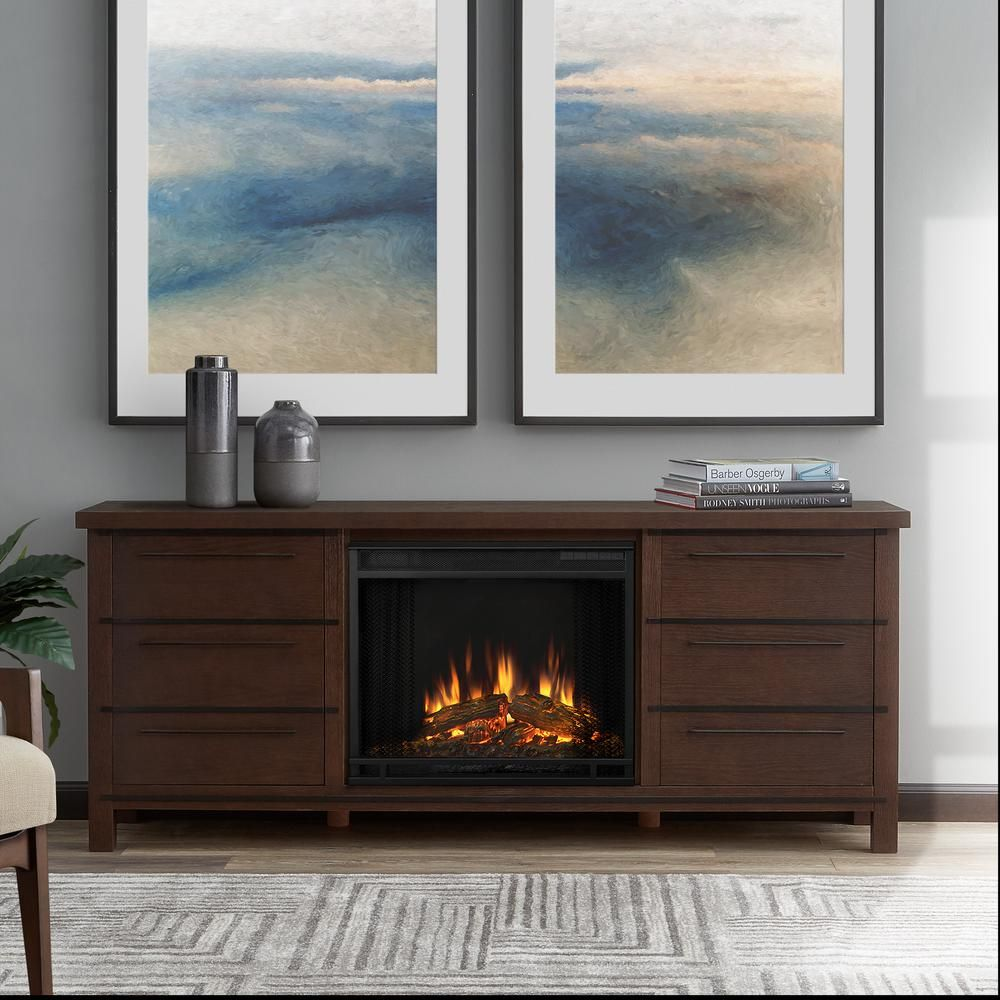 parsons 67 in freestanding electric fireplace tv stand in chestnut rh pinterest co uk