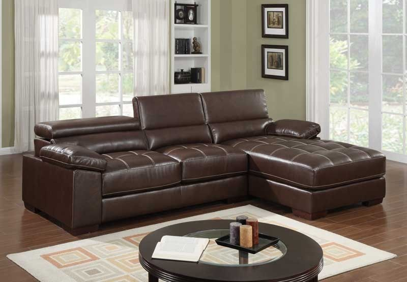 Modern Small Brown Leather Sectional