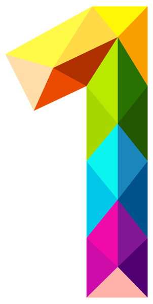 Colourful Triangles Number One PNG Clipart Image