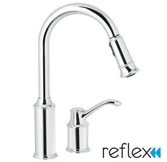 moen 7590 single handle pullout spray kitchen faucet with reflex rh pinterest com