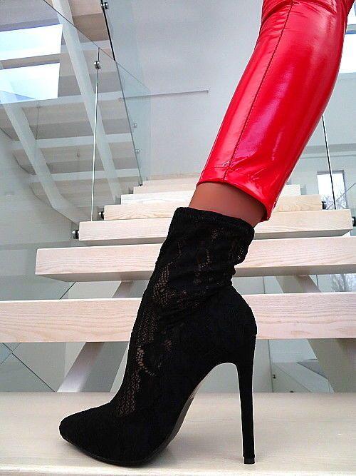 Damenschuhe Boots T77 Stiefel Schwarz Stiefeletten Strümpfe rQCBxeWdo
