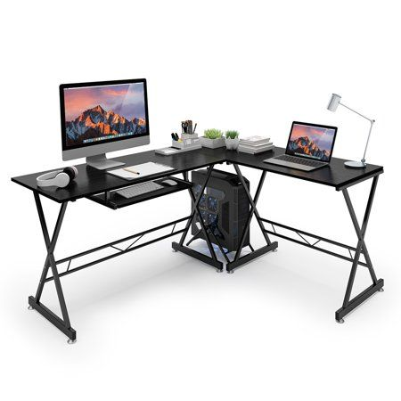 ktaxon l shape computer desk corner desk black with black glass pc rh in pinterest com