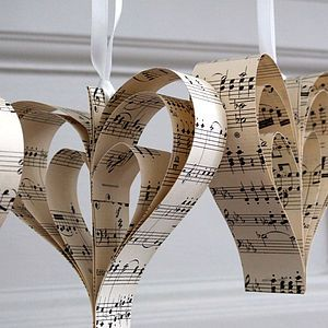 notonthehighstreet.com Handmade Vintage Music Heart Decoration - room decorations