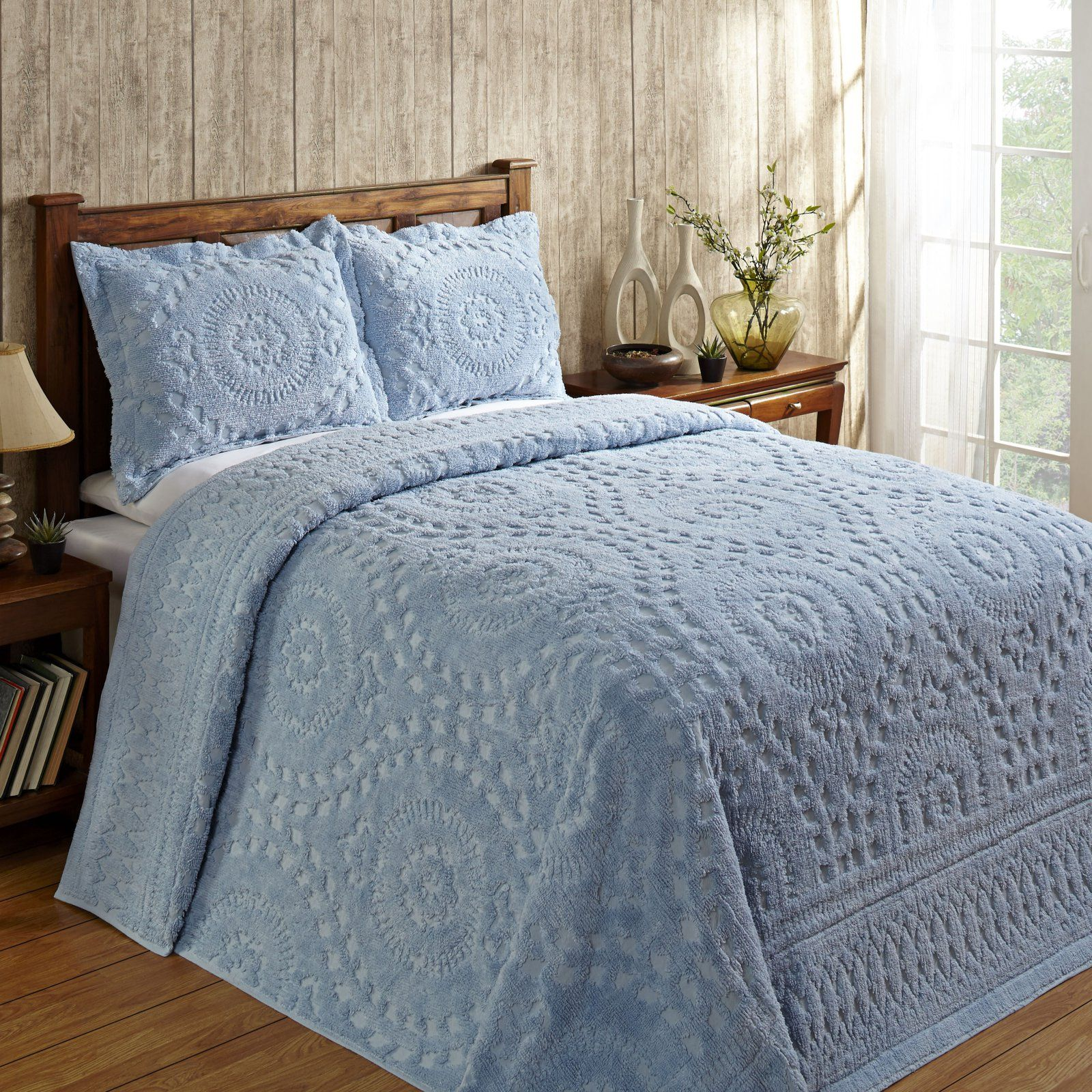 Rio Chenille Bedspread Queen 102x110 Blue Walmart Com Queen