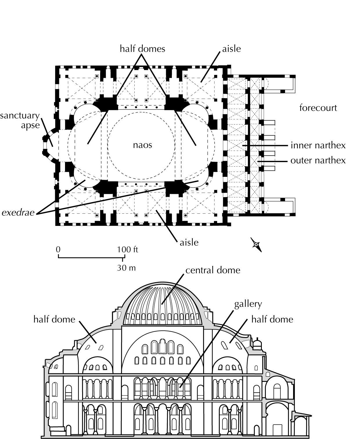 Byzantine architecture plan and section hagia sophia for Architecture byzantine definition