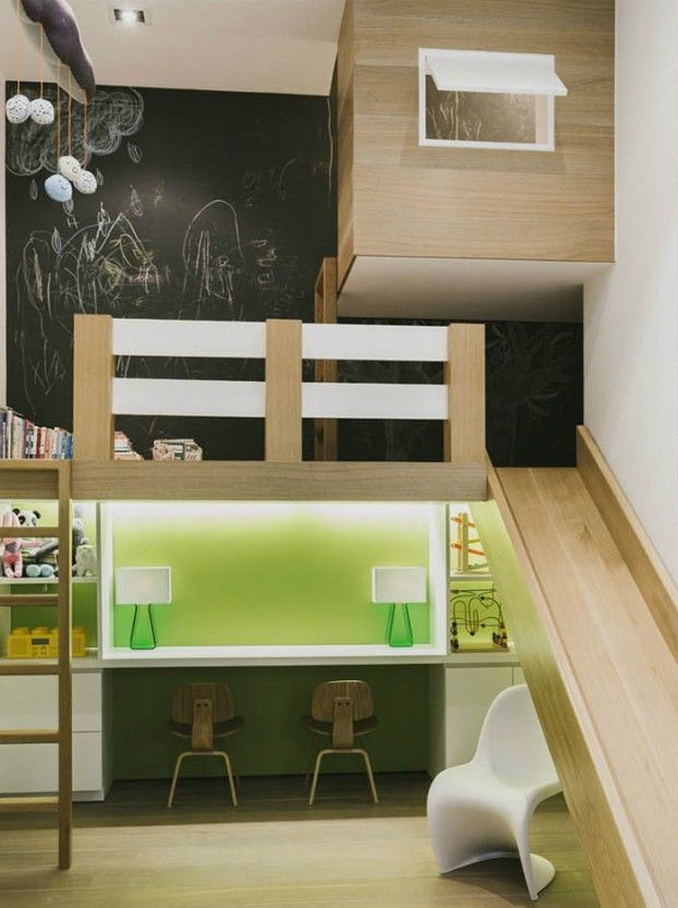 kids Loft with slide 2 desks and