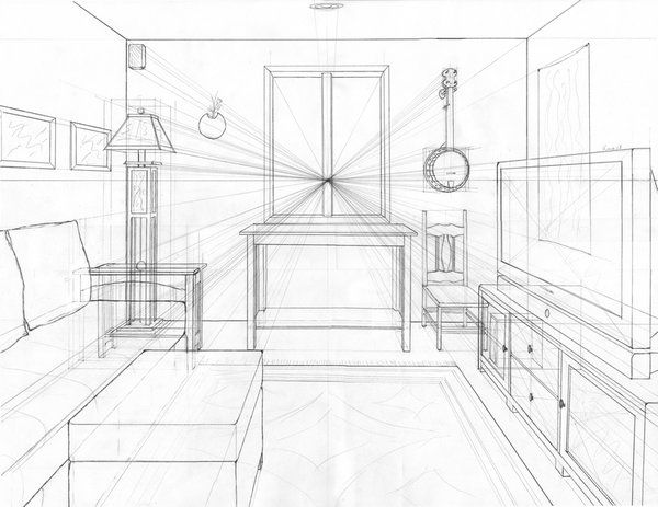 One Point Perspective Living Room Drawing Design