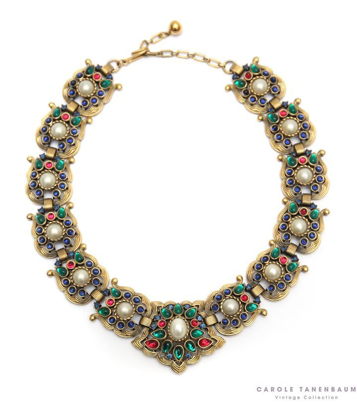 Fabulous Trifari necklace with red, blue and green cabochons and pearls.  #vintagecostumejewelry #vintagefashion #necklace #trifari #caroletanenbaum