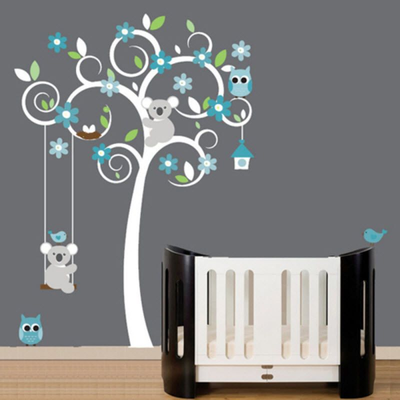 deco murale enfant bleu gris stickers | idées déco | Pinterest ...