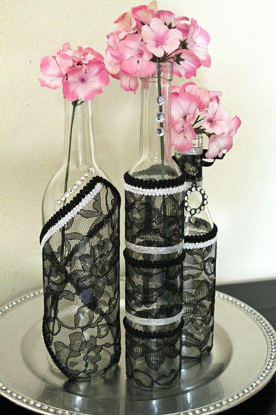 Set 3 decorated wine bottle centerpiece black lace for Bottle centerpieces