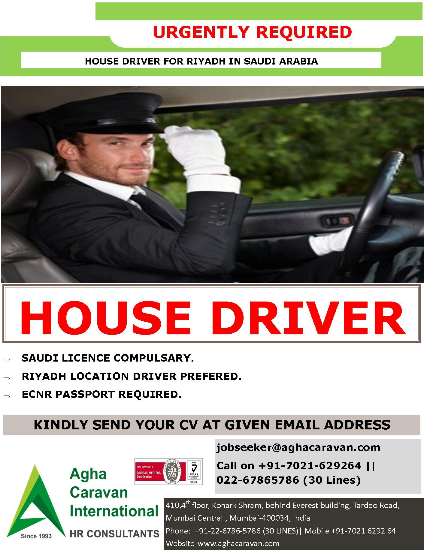 Urgently Required House Driver For Riyadh in