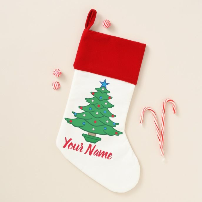 Americana Christmas Tree Red White Blue Christmas Stocking in 2018