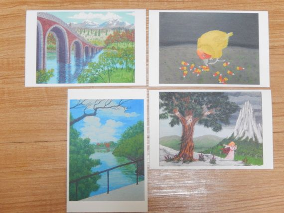 Full Size GREETING NOTECARDS 4 cards Sturdy Blank by ABrushOfLife - what size are notecards