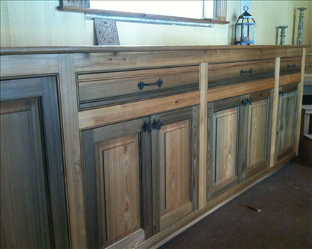 Cypress kitchen cabinets | select sinker cypress with natural finish ...
