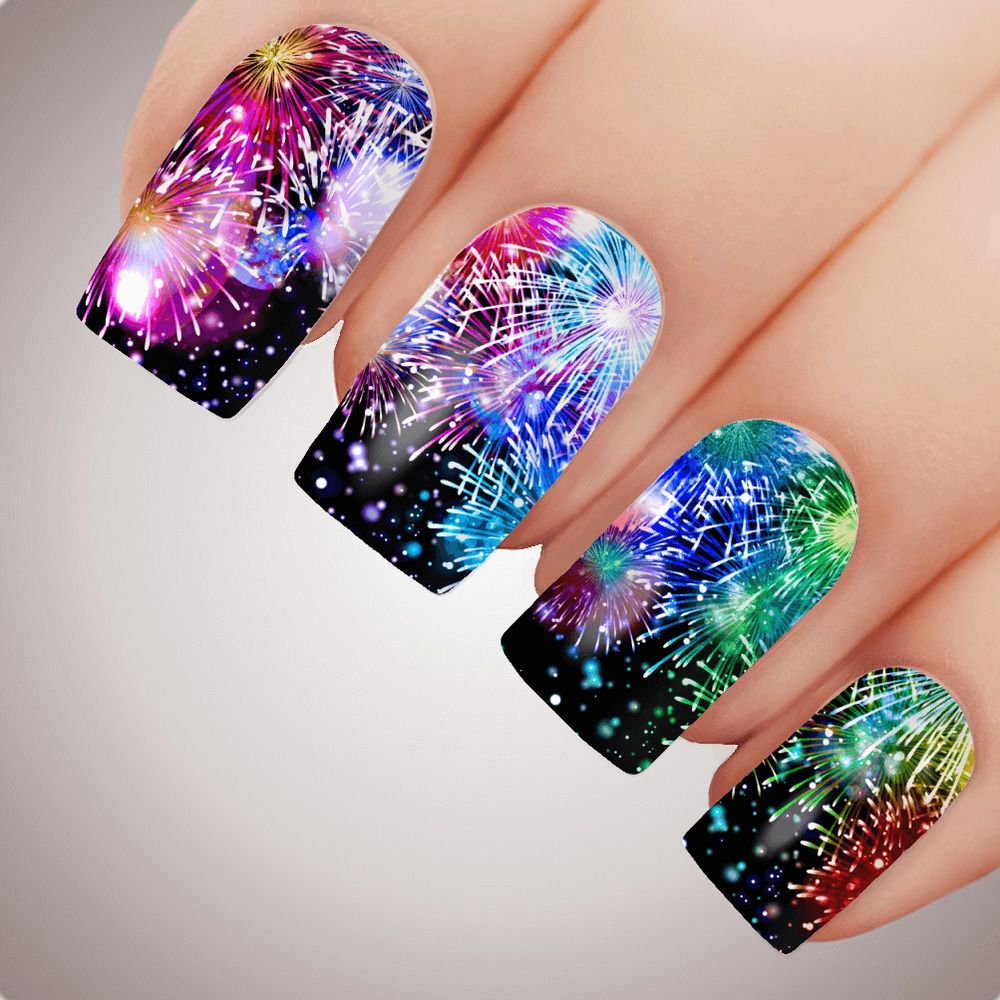 Details About Rainbow Fireworks New Years Eve Nail Decal Party Celebration Water Transfer Stic New Years Eve Nails Firework Nails Firework Nail Art