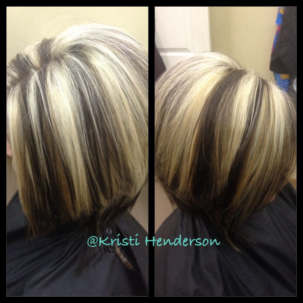 Chunky Blonde And Brown Highlights Hair By Kristi Pinterest