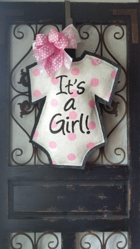 It\'s a girl! Baby announcement door hanger, hand painted burlap ...