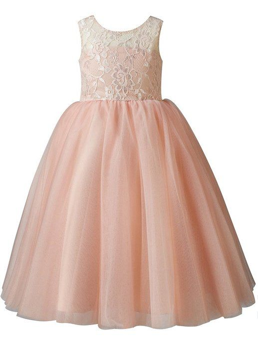 eb4e244d6e4 Thatylee Lace Tulle Tea Length Flower Girl Dress Junior Bridesmaid Dress  Kids Little Girl Formal Dress US Size 10 Peach