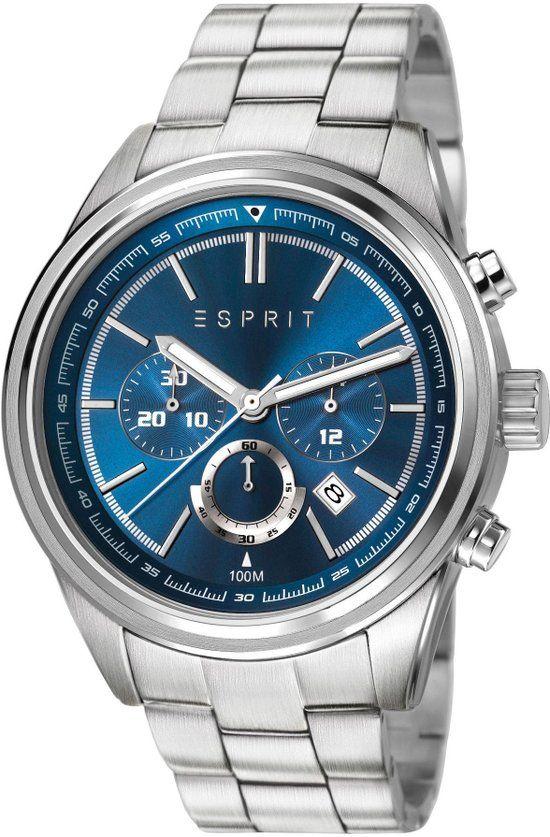 3c3476793b7 ESPRIT Heren Horloge - Es-Ray Chrono Silver Blue - ES107541005 ...