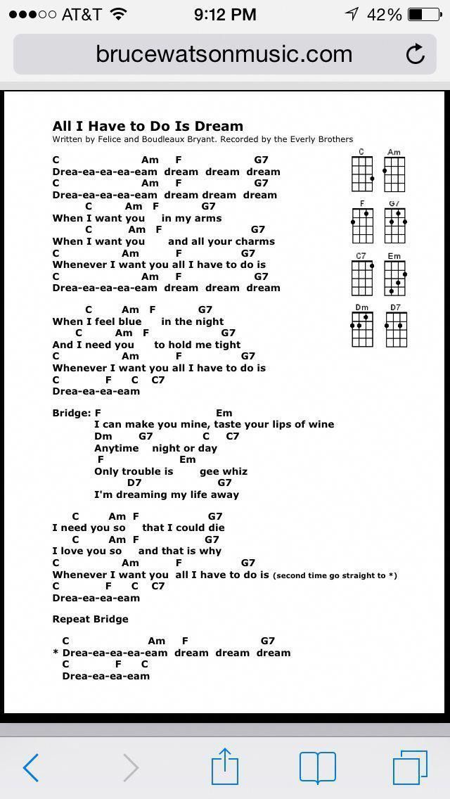 All I Have To Do Is Dream Uke Chords Learnukulele Guitar Songs