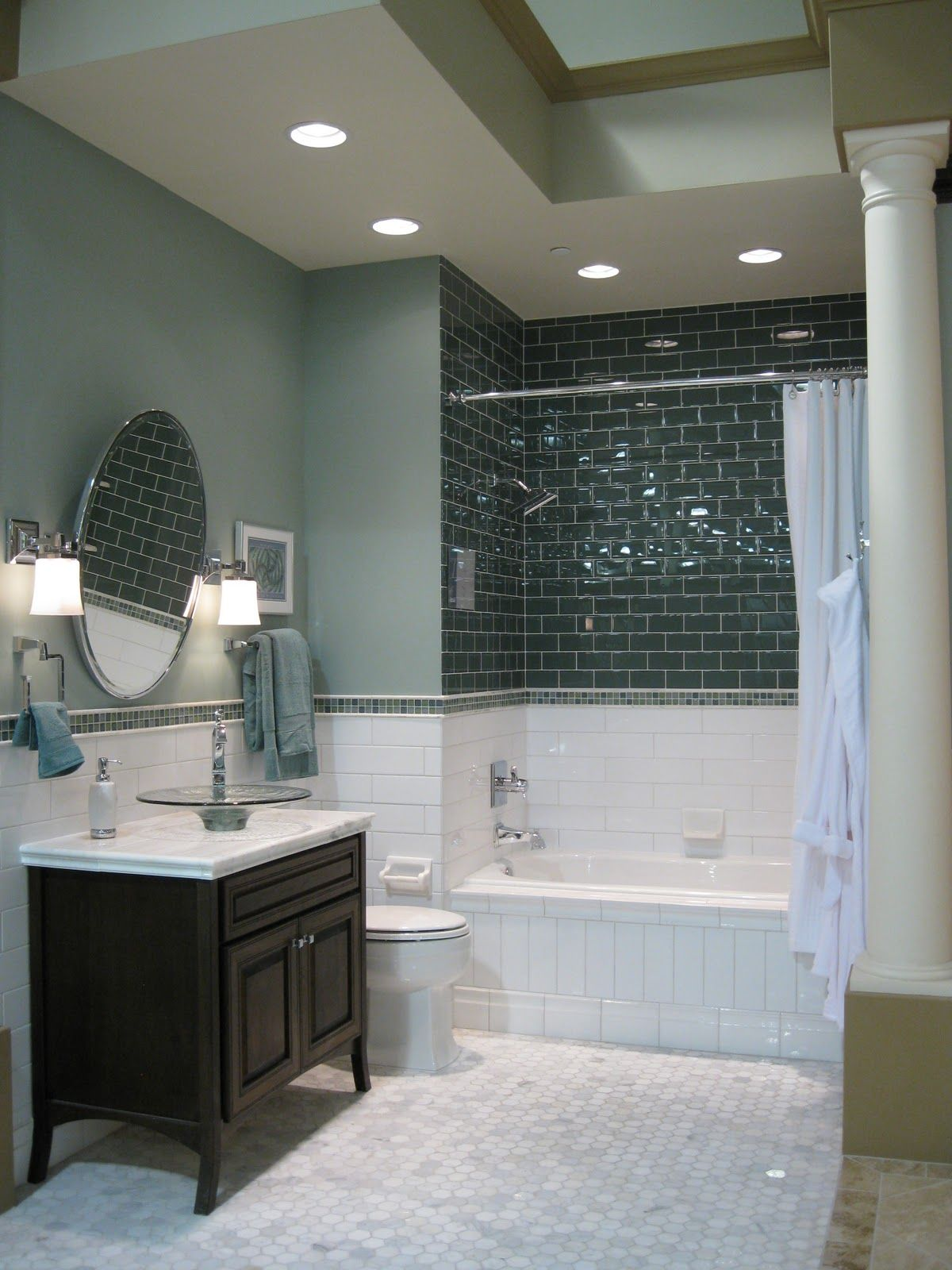 cost of tile for bathroom floor%0A Floor tileYES  Sub green tile  dark wood double vanity  but
