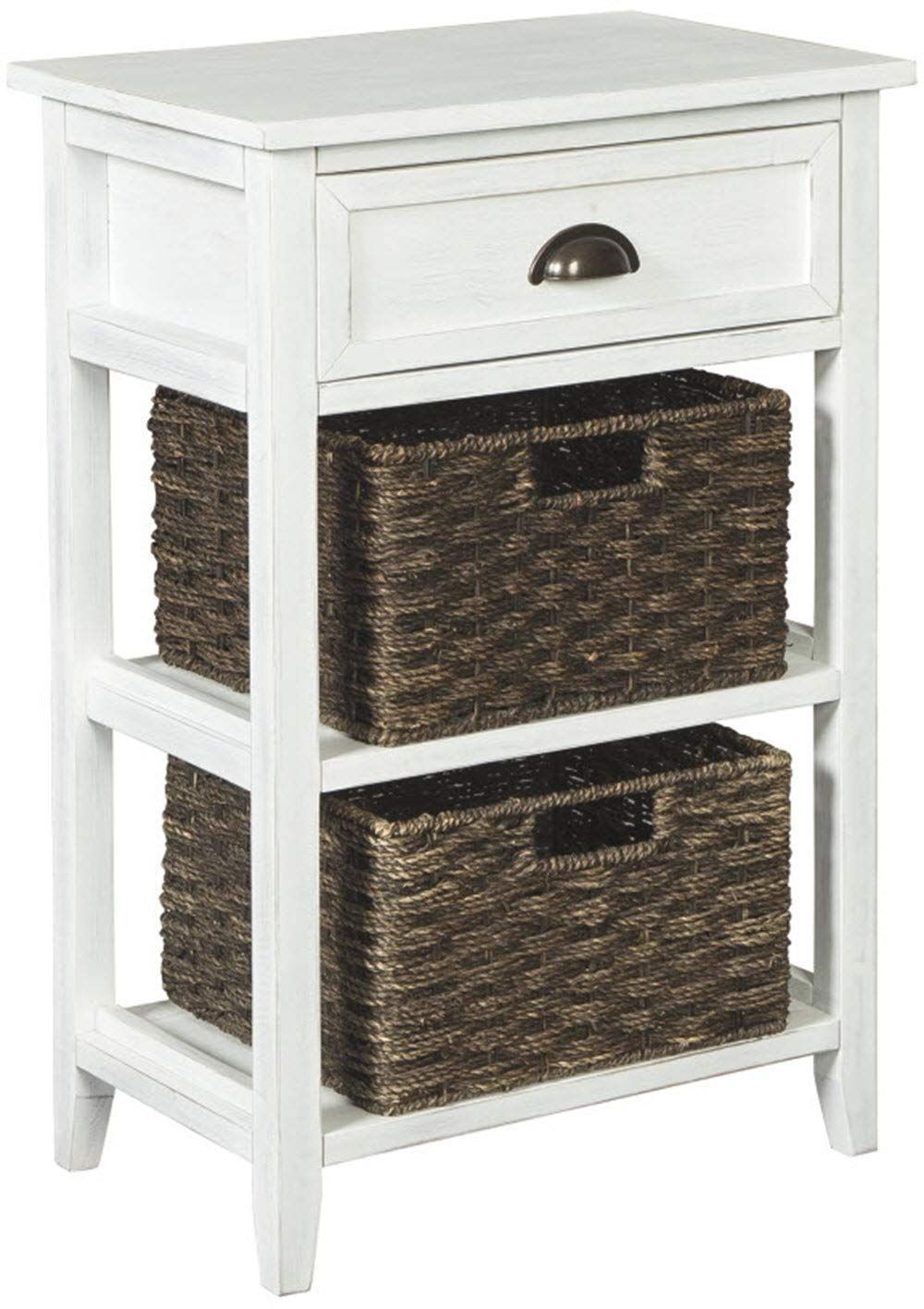 Ashley Furniture Signature Design Oslember Storage Accent Table Includes 2 Brown Removable Baskets Antique White Finish Hope You Actually Like Our