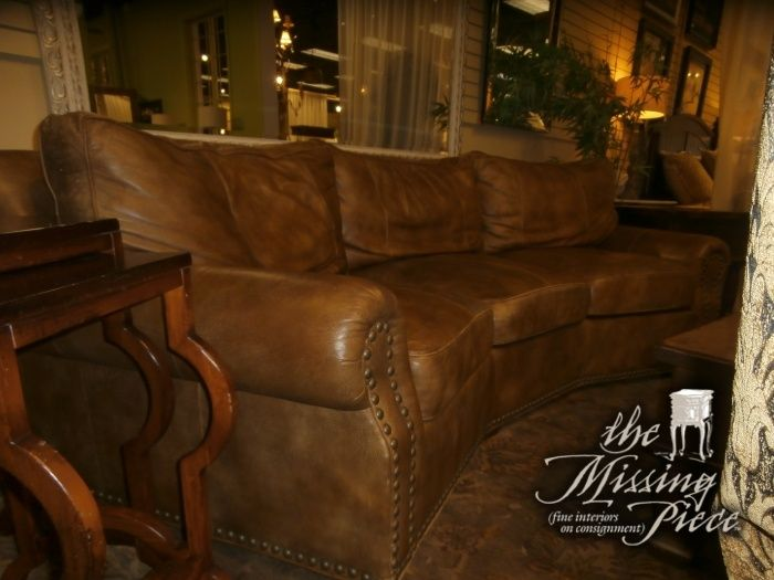 Three Cushion Conversation Sofa By Norwalk Furniture In A Milky Chocolate Leather Measures 113 43 36