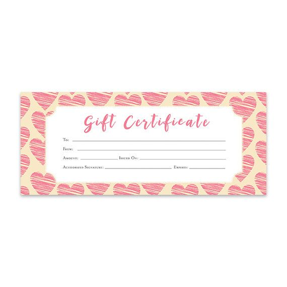 Heart Hearts Pink Hearts Gift Certificate Download Premade Gift