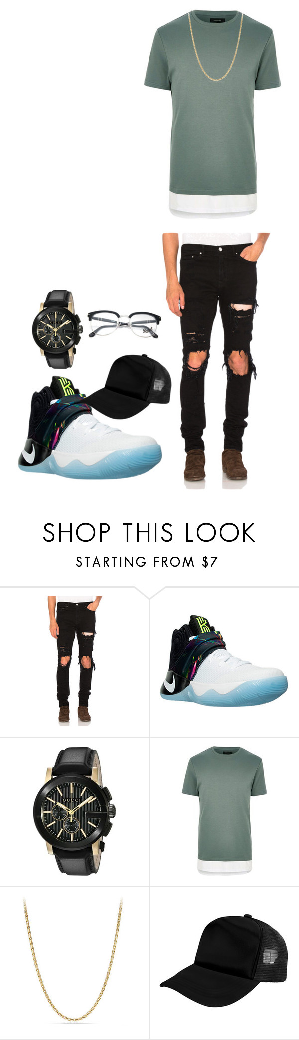 """""""Untitled #213"""" by alexisxxr ❤ liked on Polyvore featuring AMIRI, NIKE, Gucci, River Island, David Yurman, Zodaca and Persol"""