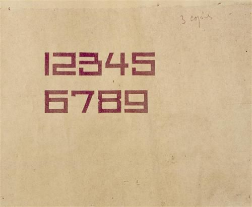 Design for the numbers 1 through 9 - Theo van Doesburg