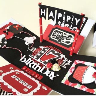 Happy 17th birthday explosion box card in red and black regalos happy 17th birthday explosion box card in red and black bookmarktalkfo Image collections