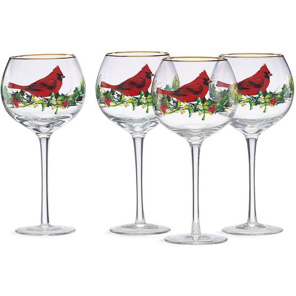 Winter Greetings® 4-pc Balloon Wine Glass Set | Wine Glass Sets ($40) ❤ liked on Polyvore featuring home, kitchen & dining, drinkware and set of 4 wine glasses
