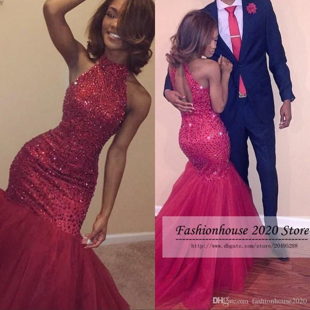 Sparkly mermaid african prom dresses red high neck beading long