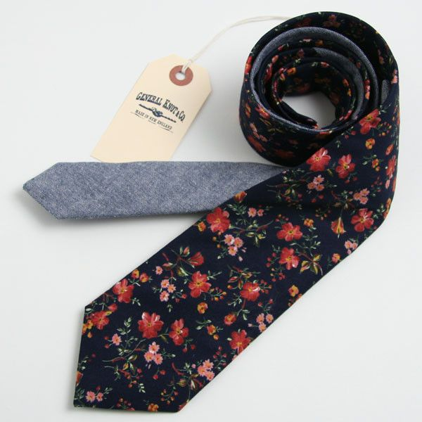 03ec5e790000 Deadstock Navy Floral   Navy Chambray Necktie - vintage ties handmade in  the United States
