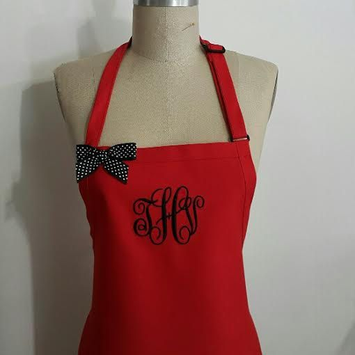 Red  Monogrammed Apron - Personalized Gray Apron,Red and Black  Aprons, Personalized Baking Kitchen Aprons, Beach Coastal Aprons, Custom by Wheelering on Etsy