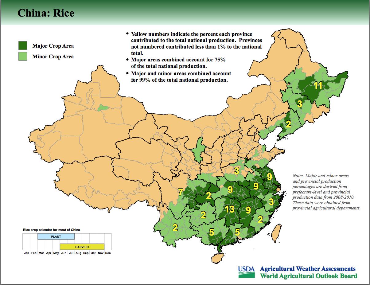 Rice Grow Region China