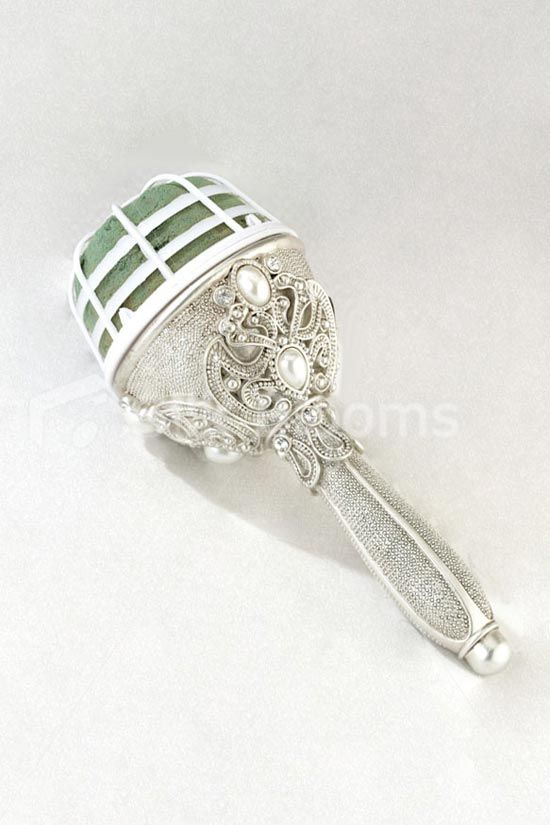 Silver Jewelled Wedding Reception Champagne Toasting Flutes ...