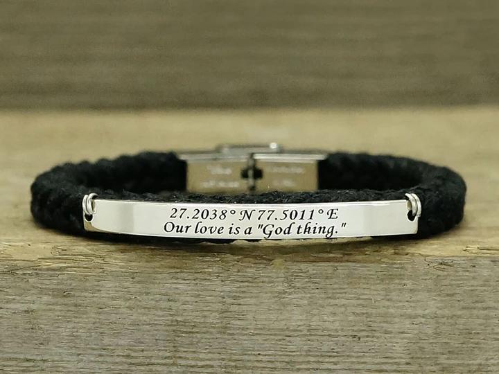 Engraved Coordinates Leather Bracelet w// Personalised Bar Co-Ordinates Latitude