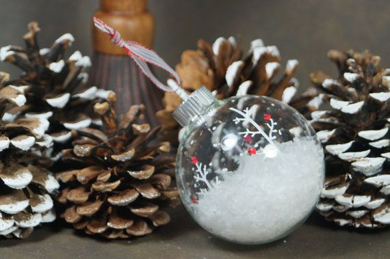 Hand Painted Glass Christmas Ball Ornament - Cardinal Snow scene with Flakes of Snow, Great Gift