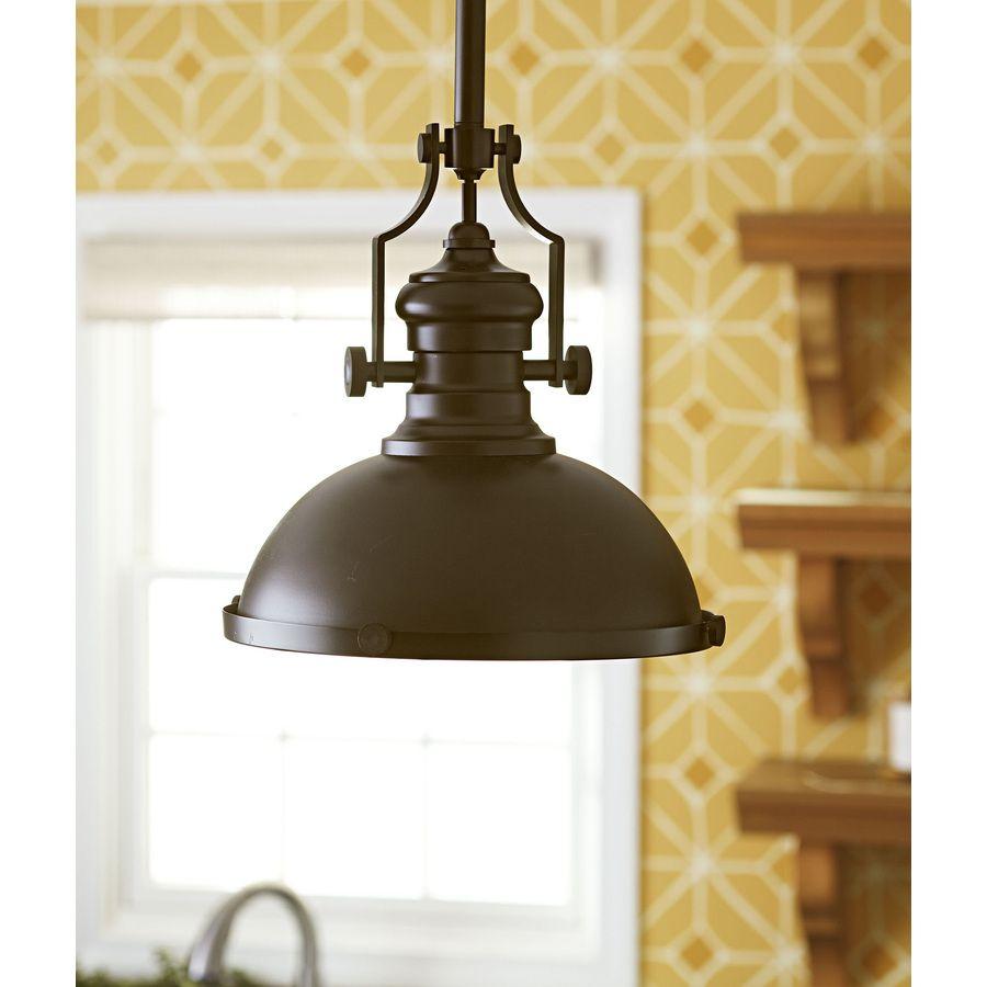 Shop Portfolio 13-in W Oiled Bronze Standard Pendant Light