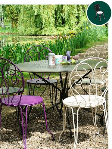 garden furniture, french colourful design for outdoor, metal patio ...