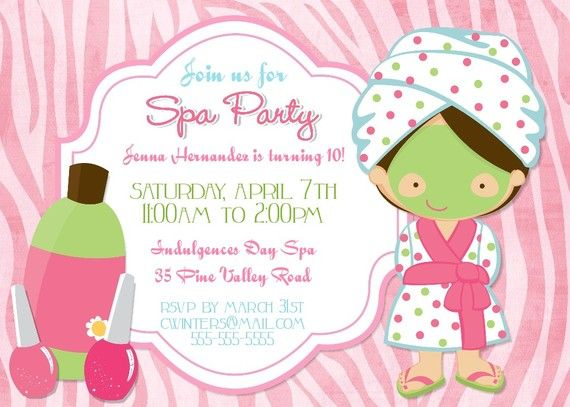 Blank Spa Party Invitations spa birthday party invitation spa – Printable Spa Party Invitations
