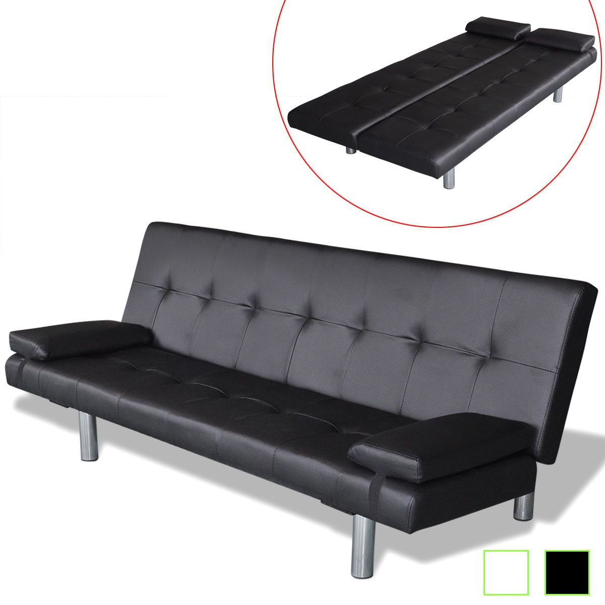 155 99 artificial leather convertible sofa bed futon couch black rh pinterest com