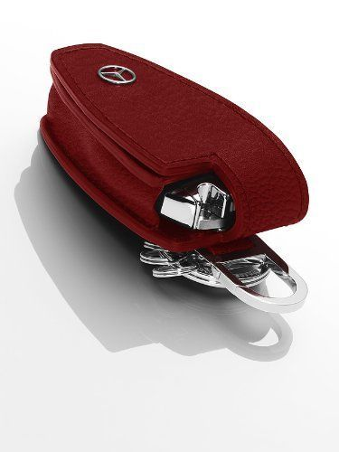 genuine mercedes benz key cover red leather stainless