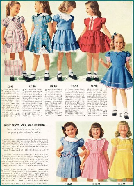 1940s Fashion Sears Catalogue Girls Dresses In 2019